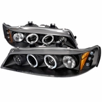 Black JDM Style Halo LED Projector Headlights