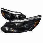 Black  LED DRL Projector Headlights