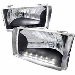 Black LED Euro Headlights