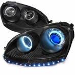 Black R8 Style CCFL Halo LED Projector Headlights