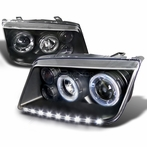 Black R8 Style Halo LED Projector Headlights