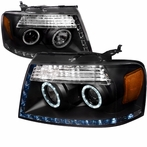Black R8 Style Halo Projector Headlights