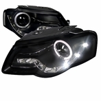 Black R8 Style LED Halo Projector Headlights