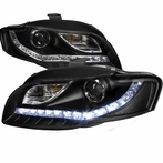 Black R8 Style LED Projector Headlights