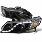 Black R8 Style Projector Headlights