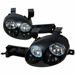 Black Ralli Style Halo Projector Headlights