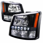 Black SMD LED Euro Headlights + Bumper Lights (1PC)