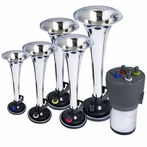 Chrome Air Horn x5 Musical with Compressor Kit (La Cucaracha)