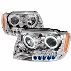 Chrome CCFL Halo LED Projector Headlights