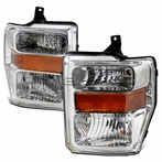 Chrome Headlights with Amber Reflectors