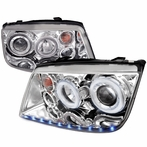 Chrome R8 Style Halo LED Projector Headlights