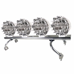 "Chrome Roof Light Bar X4 Round Fog Lamps (6.5"") + Wiring"