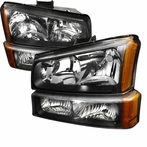 COMBO: Black 2003-2007 Chevy Silverado Headlights + Bumper Lights