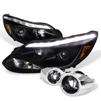 COMBO: Black Daytime Running Light LED Projector Headlights + Clear Fog Lights