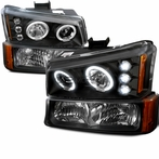 COMBO: Black Halo LED Projector Headlights + Bumper Lights
