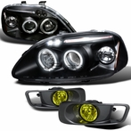 COMBO: Black Halo LED Projector Headlights + Fog Lights