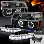 COMBO: Black Halo LED Projector Headlights + FREE LED Fog Lights