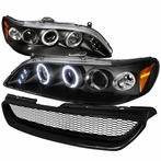COMBO: Black Halo LED Projector Headlights + Grille