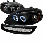 COMBO: Black Halo LED Projector Headlights + Mesh Grille