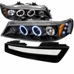 COMBO: Black Halo LED Projector Headlights + TR Style Front Grille