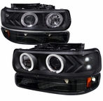 COMBO: Black Halo Projector Headlights + Bumper Lights