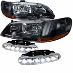COMBO: Black JDM Crystal Headlights + LED Fog Lights