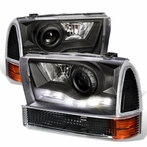 COMBO: Black LED Projector Headlights + Corner Lights