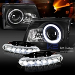 COMBO: Black Projector Halo Projector Headlights + FREE LED Fog Lights
