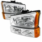 COMBO: Chrome 2003-2007 Chevy Silverado Headlights + Bumper Lights