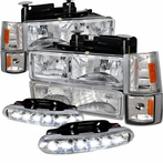 COMBO: Chrome Crystal Headlights + Corner Lights + Bumper Lights + LED Fog Lights