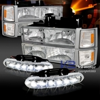 COMBO: Chrome Euro Headlights + Corner Lights + Bumper Lights Package + FREE LED Fog Lights