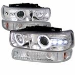 COMBO: Chrome Halo LED Projector Headlights + Bumper Lights