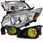COMBO: Chrome Halo LED Projector Headlights + Fog Lights