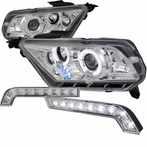 COMBO: Chrome Halo LED Projector Headlights + FREE Fog Lights