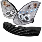 COMBO: Chrome Halo LED Projector Headlights + FREE Front Grille