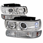 COMBO: Chrome Halo Projector Headlights + Bumper Lights
