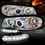 COMBO: Chrome Halo Projector Headlights + FREE LED Fog Lights
