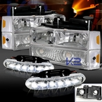 COMBO: Chrome Headlight + Bumper Lights + Corner Lights + FREE LED Fog Lights