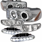 COMBO: Chrome Projector Headlights + Bumper Lights + LED Fog Lights