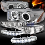 COMBO: Chrome Projector Headlights + Bumper Lights + FREE LED Fog Lights