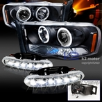 COMBO: Halo Black LED Projector Headlights + FREE LED Fog Lights