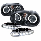 COMBO: Halo Black Projector Headlights - LED Fog Lights