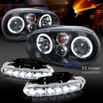 COMBO: Halo Black Projector Headlights - FREE LED Fog Lights