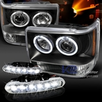 COMBO: Halo Black Projector Headlights + FREE LED Fog Lights