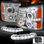 COMBO: Halo Chrome LED Projector Headlights + FREE LED Fog Lights