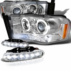 COMBO: Halo Chrome LED Projector Headlights + LED Fog Lights