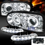 COMBO: Halo Chrome Projector Headlights + FREE Chrome Fog Lights