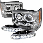 COMBO: Halo Chrome Projector Headlights + LED Fog Lights