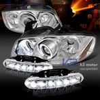 COMBO: Halo Chrome Projector Headlights + FREE LED Fog Lights