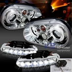 COMBO: Halo Chrome Projector Headlights - FREE LED Fog Lights